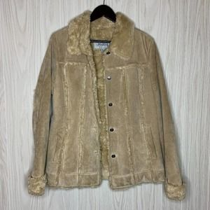 Wilsons Leather Suede Faux Fur Jacket Coat Large